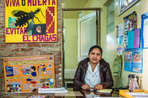 Women sitting in a Chagas Center in Bolivia