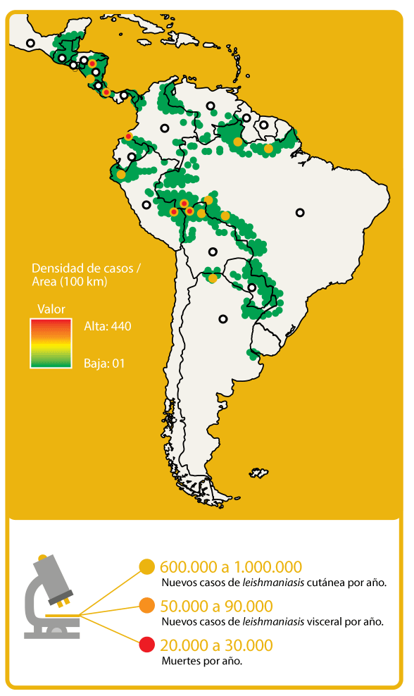 Map Leishmaniasis Burden South America
